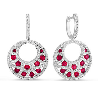 14K White Gold Ruby and Diamond Crescent Drop Earrings