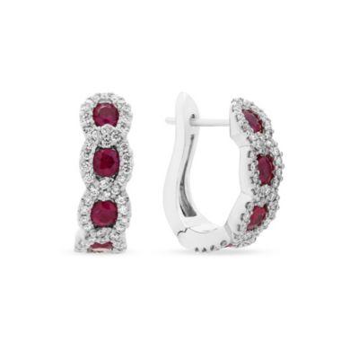 14k white gold ruby & diamond chain hoop earrings