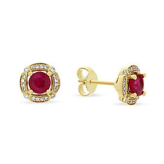 14k yellow gold ruby & diamond frame post earrings