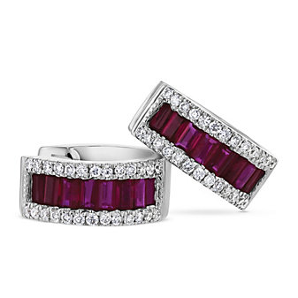 14k white gold pave diamond and baguette ruby petite huggy hoop earrings