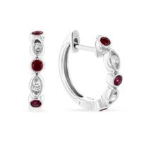14k_white_gold_round_ruby_&_diamond_navette_hinged_hoop_earrings