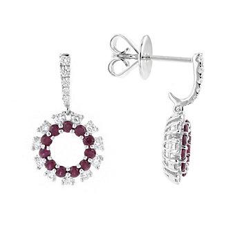 14k white gold ruby & diamond dangle earrings