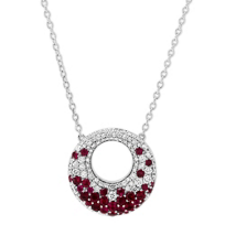 14K_White_Gold_Ruby_and_Diamond_Circle_Necklace,_18.5""