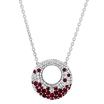 """14K White Gold Ruby and Diamond Circle Necklace, 18.5"""""""