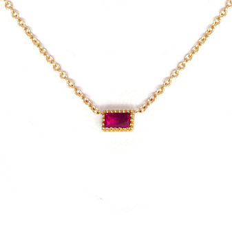 14K Yellow Gold Baguette Ruby Necklace