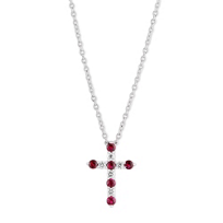 14K_White_Gold_Ruby_and_Diamond_Cross_Necklace,_18""