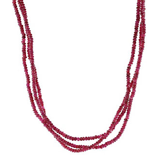 """18k white gold faceted ruby rondelle 3 strand necklace, 16"""""""