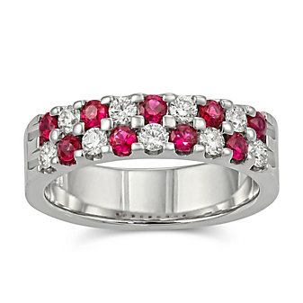14K White Gold Round Ruby and Diamond Two Row Band