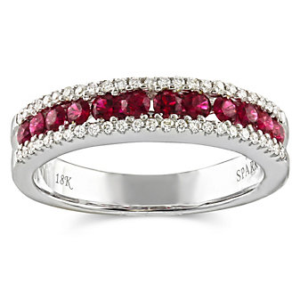 18K White Gold Round Ruby and Round Diamond Three Row Ring