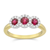18K_Yellow_and_White_Gold_Three_Ruby_and_Round_Diamond_Ring