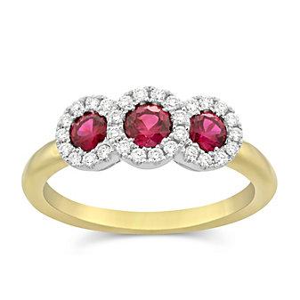 18K Yellow and White Gold Three Ruby and Round Diamond Ring