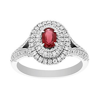 18k white gold 0.49ct oval ruby and diamond double halo ring