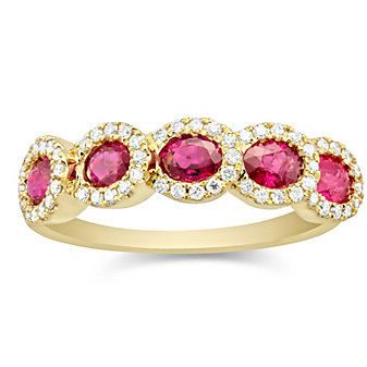 14K Yellow Gold Oval Ruby and Round Diamond Ring