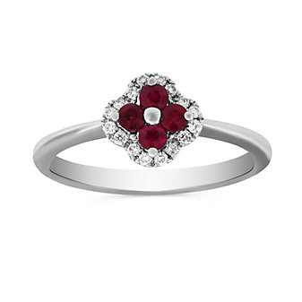 14K White Gold Ruby and Diamond Flower Ring