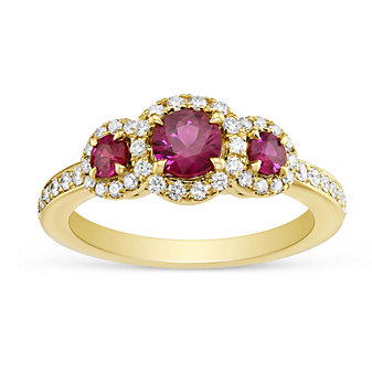 14K Yellow Gold 3 Stone Ruby and Diamond Ring