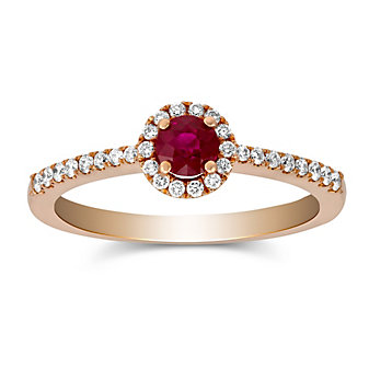 14K Rose Gold Ruby and Round Diamond Halo Ring