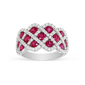 14K White Gold Ruby and Diamond Lattice Ring