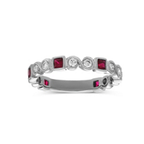 14K_White_Gold_Princess_Cut_Ruby_and_Round_Diamond_Ring