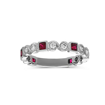 14K White Gold Princess Cut Ruby and Round Diamond Ring