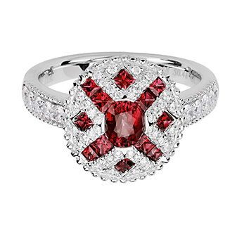 14K White Gold Oval & Princess Ruby & Diamond Ring, 0.39cttw
