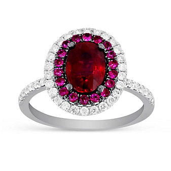 18K Yellow & White Gold Oval Ruby and Diamond Halo Ring