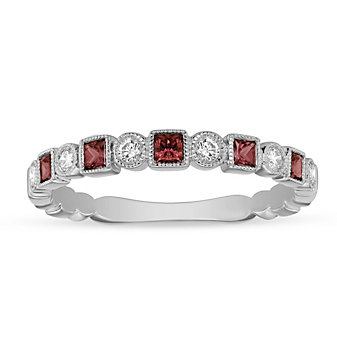 14K White Gold Ruby and Diamond Milgrain Geometric Ring