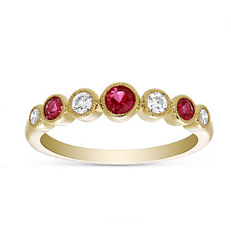 14K Yellow Gold Ruby & Diamond Bezel Set Ring, 0.22cttw