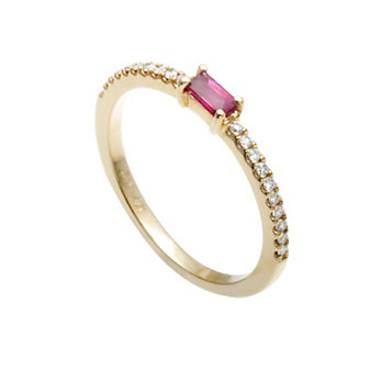 14K Yellow Gold Baguette Ruby and Diamond Ring