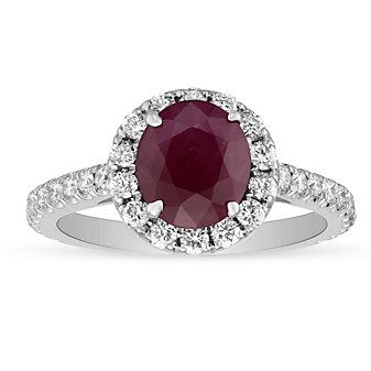 18K White Gold Oval Ruby & Diamond Halo & Shank Ring