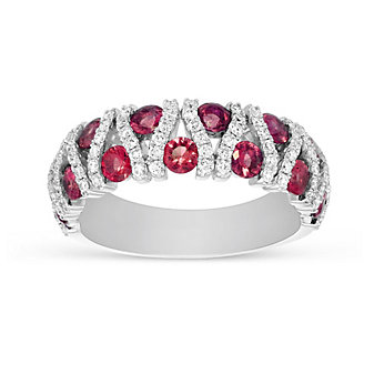 14K White Gold Ruby and Diamond Bar Ring