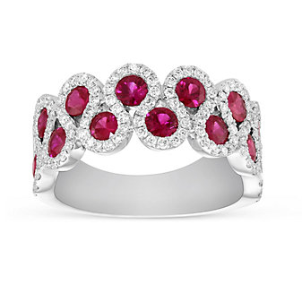 14K White Gold Ruby and Diamond S-Curve Ring