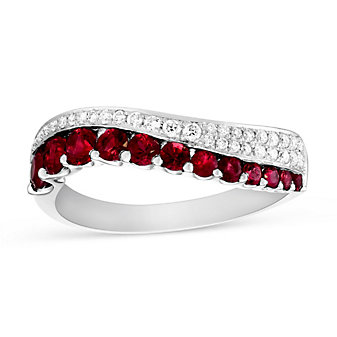 14K White Gold Ruby and Diamond Wave Ring