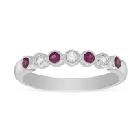 14K_White_Gold_Round_Ruby_and_Round_Diamond_Bezel_Set_Milgran_Ring