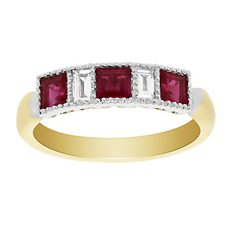 18k white & yellow gold ruby & baguette diamond milgrain ring