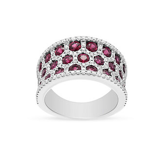 14k white gold ruby & diamond honeycomb 3 row ring
