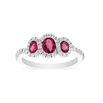14k white gold ruby 3 stone ring with diamond halo & shank