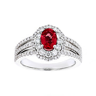 14k white gold oval ruby & diamond double scalloped halo ring with 3 row shank