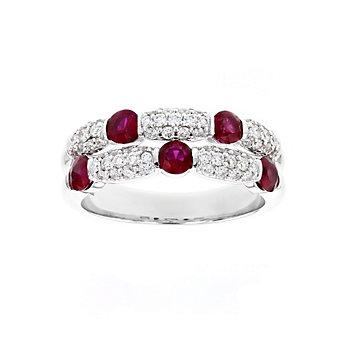 14k white gold round ruby & diamond 2 row station ring