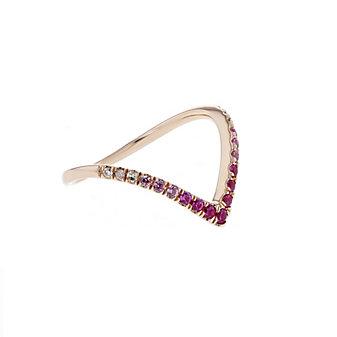 14k rose gold ruby, pink sapphire & diamond ombre chevron ring