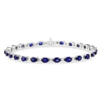 18K_White_Gold_Oval_Sapphire_and_Round_Diamond_Prong_Set_Bracelet,_7""