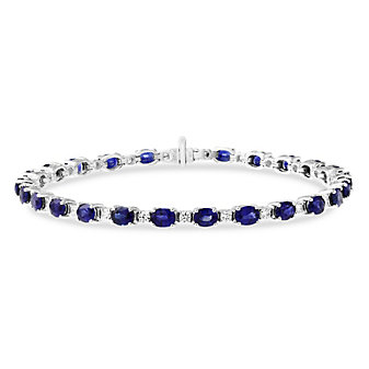 18K White Gold Oval Sapphire and Round Diamond Prong Set Bracelet, 7""