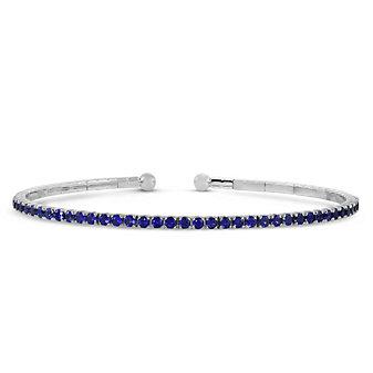 18K White Gold Sapphire Cuff Bracelet