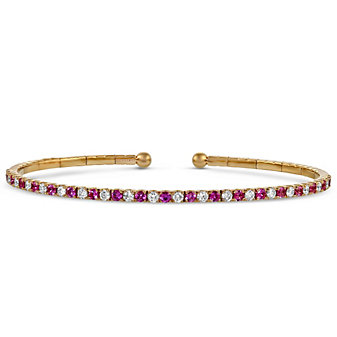 18K Rose Gold Pink Sapphire and Diamond Cuff Bracelet