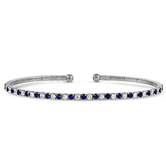 18K White Gold Sapphire and Diamond Cuff Bracelet