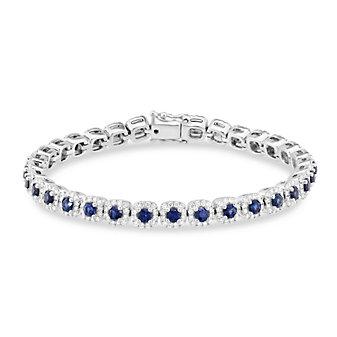 14K White Gold Round Sapphire & Diamond Bracelet