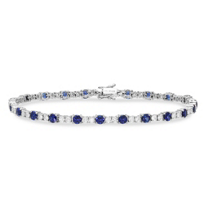 18K_White_Gold_Round_Sapphire_and_Round_Diamond_Bracelet,_7""