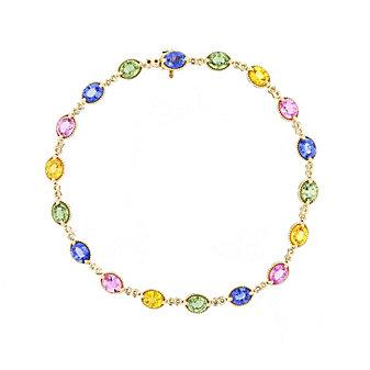 14k yellow gold multicolor sapphire milgrain bracelet