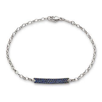 "Monica Rich Kosann 18K White Gold & Sapphire ""Carpe Diem"" Link Bracelet"
