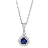 18K_White_Gold_Round_Sapphire_and_Round_Diamond_Halo_Pendant