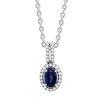"14K White Gold Oval Sapphire & Round Diamond Pendant, 18"""